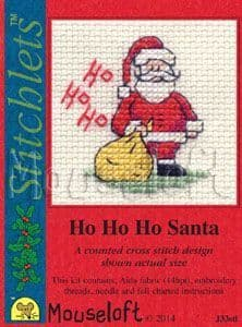 Mouseloft Ho Ho Ho Santa Card Christmas Stitchlets cross stitch kit